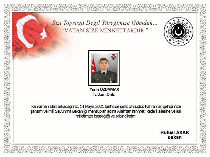Türkiyə ordusunun hərbçisi şəhid olub