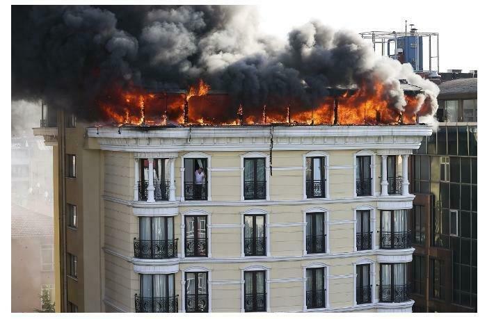 Ankarada otel yanır